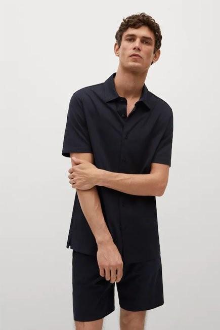 Mango - navy Regular-fit technical shirt, Men