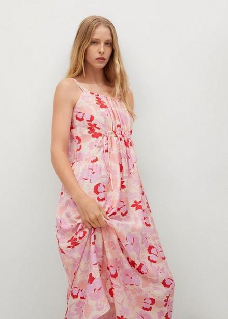 Mango - Light Beige Flowy Printed Dress, Women