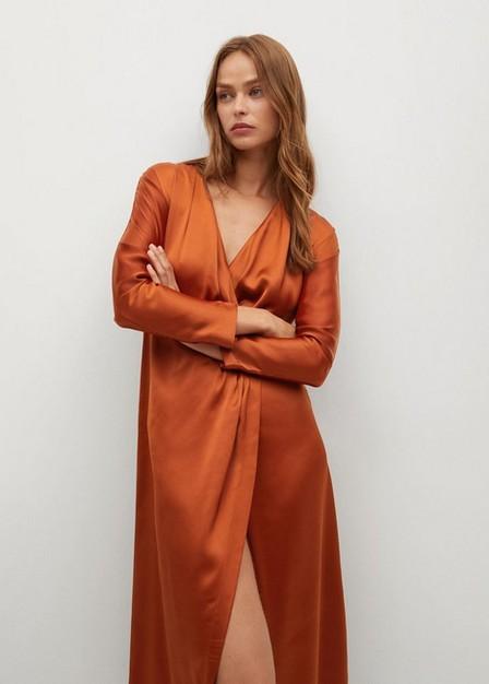 Mango - medium orange Flowy midi dress, Women