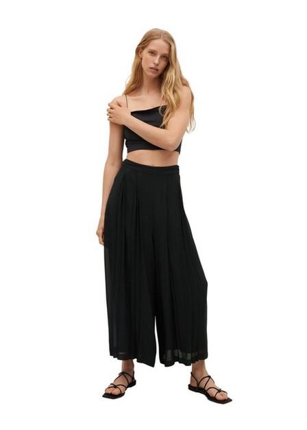 Mango - black Pleats culotte trousers, Women