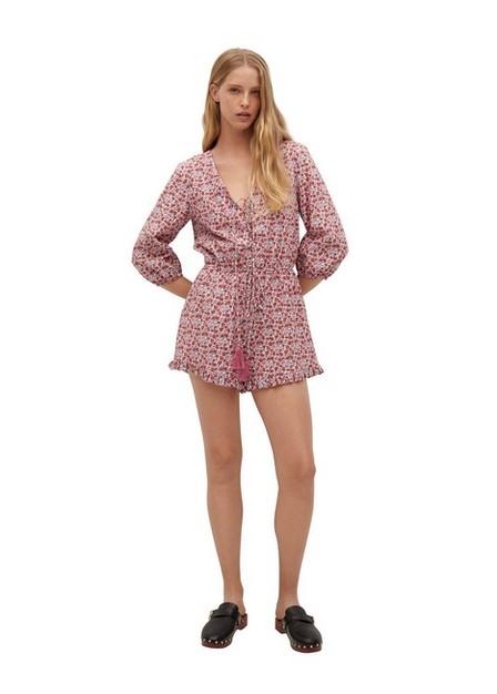 Mango - pink Cotton print jumpsuit, Women