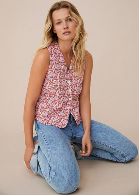 Mango - pink Cotton-blend printed gilet, Women
