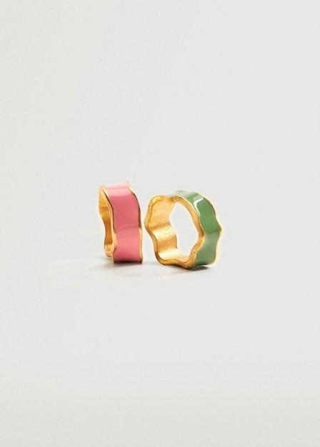 Mango - Gold Asymmetric Rings Set, Women