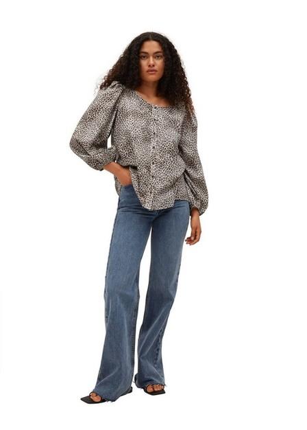 Mango - grey Leopard print blouse, Women