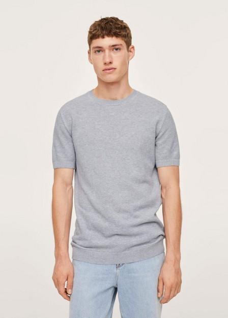 Mango - lt pastel grey Structured cotton knit t-shirt, Men