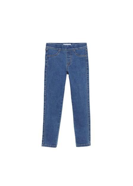 Mango - Open Blue Elastic High-Waist Jeggings, Kids Girl