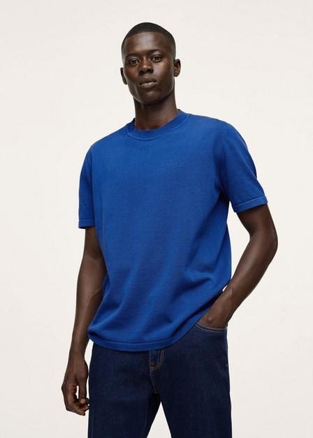 Mango - bright blue Knit cotton T-shirt, Men