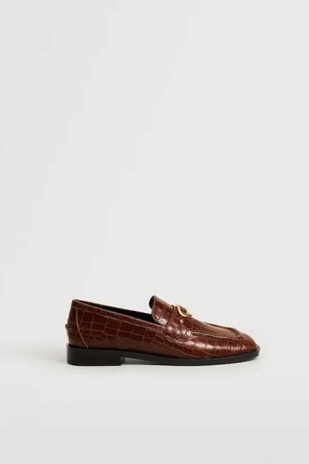 Mango - brown Buckle leather moccasins, Women