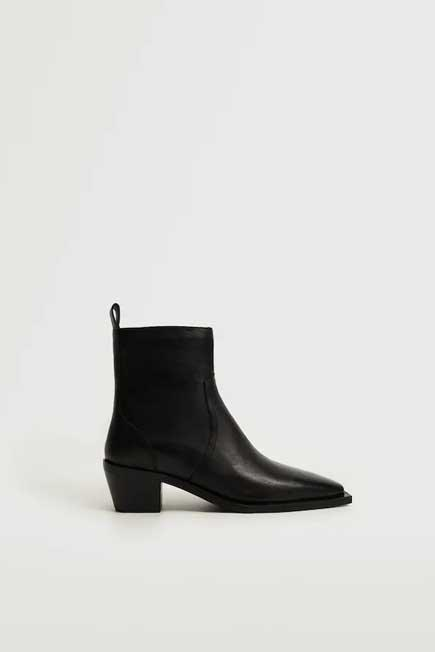 Mango - Black Squared Toe Leather Ankle Boots, Women