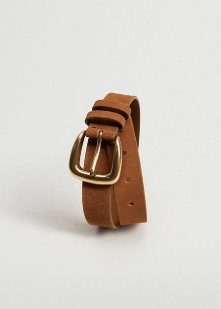 Mango - Medium Brown Suede Leather Belt, Women