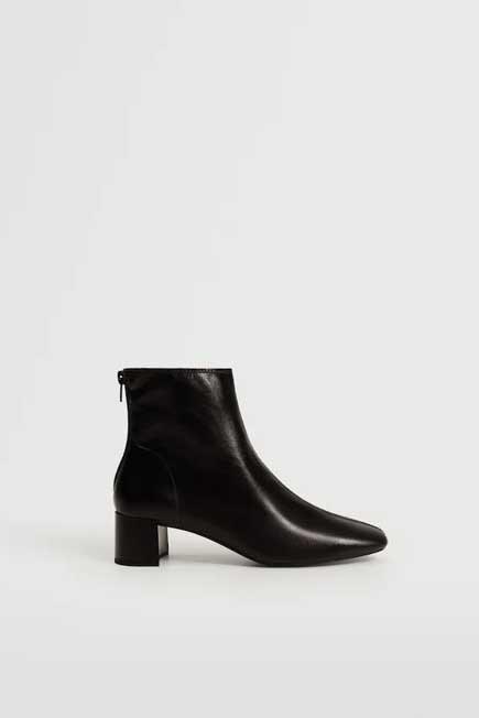 Mango - black Heel leather ankle boot, Women