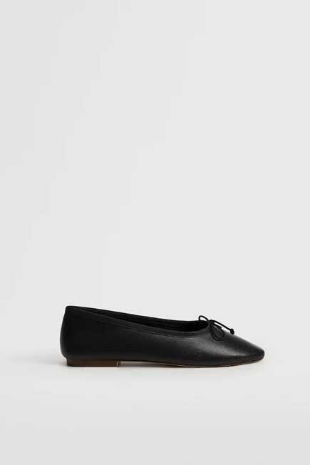 Mango - black Bow leather ballerina, Women