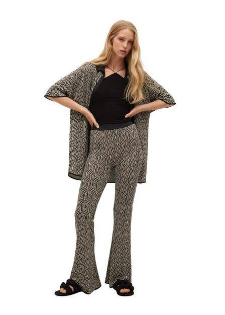 Mango - black Elastic waist printed trousers, Women