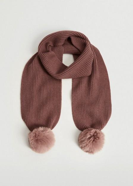 Mango - Lt-Pastel Pink Pompom Knit Scarf, Kids Girl