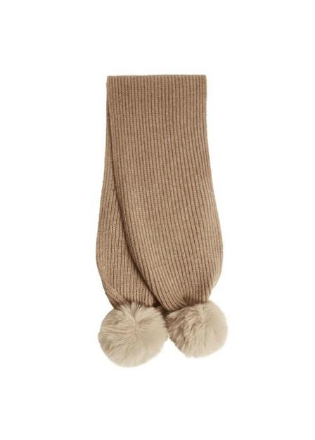 Mango - Lt Pastel Brown Pompom Knit Scarf, Kids Girl
