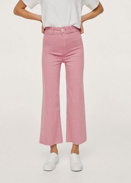 Mango - Pink Cropped Wide-Leg Jeans, Kids Girl