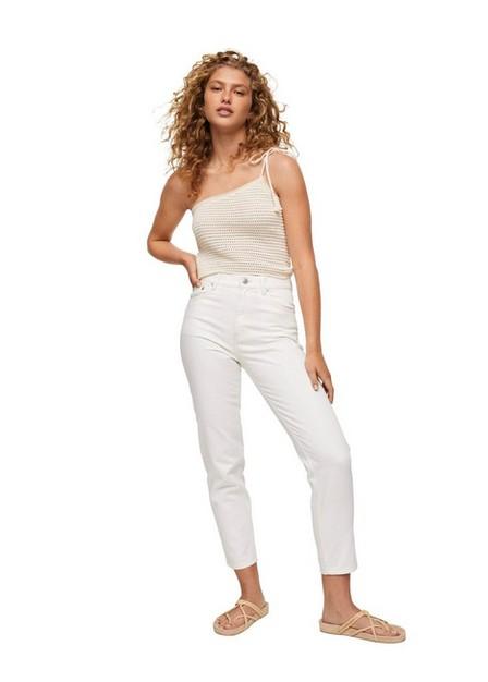 Mango - White 100% Cotton Mom-Fit Jeans, Women