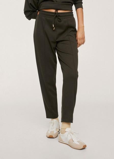 Mango - Beige - Khaki Drawstring Jogger Trousers, Women
