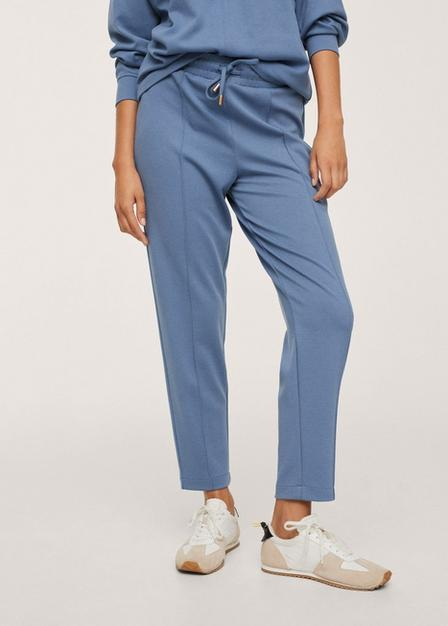 Mango - Medium Blue Drawstring Jogger Trousers, Women