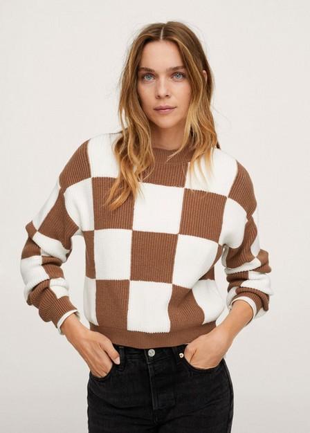 Mango - Medium Brown Checks Knitted Sweater, Women