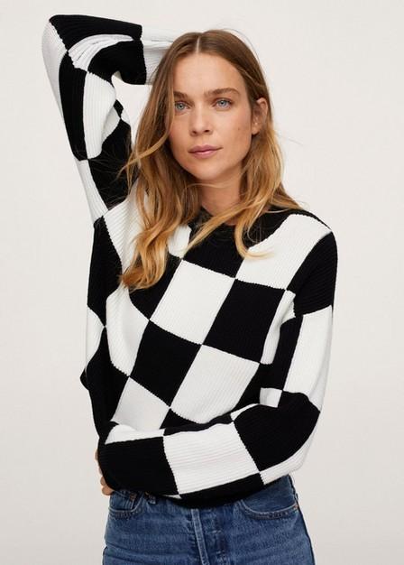 Mango - Black Checks Knitted Sweater, Women