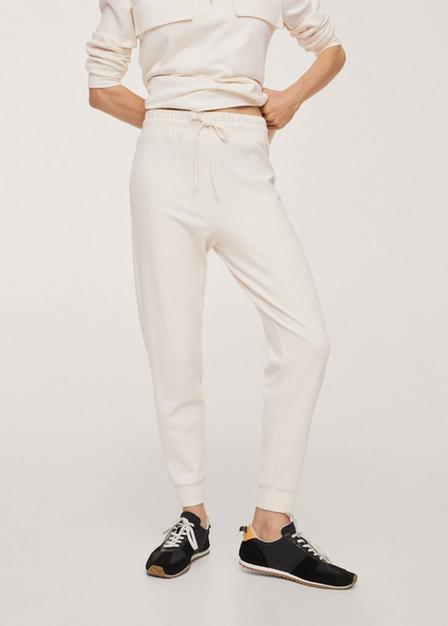 Mango - Natural White Cotton Jogger-Style Trousers, Women