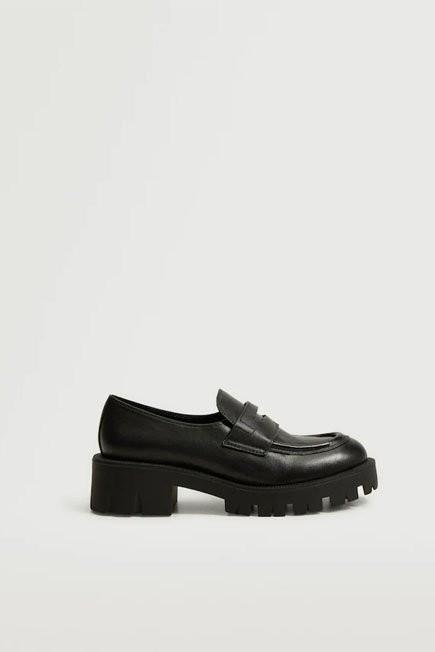 Mango - Black Leather Platform Moccasin, Women