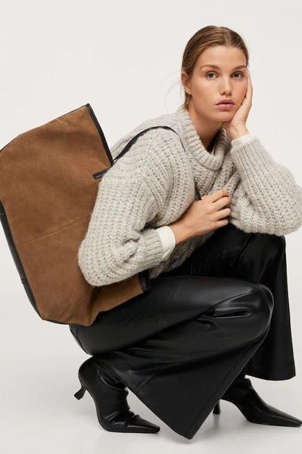 Mango - Brown Leather Shopper Bag, Women