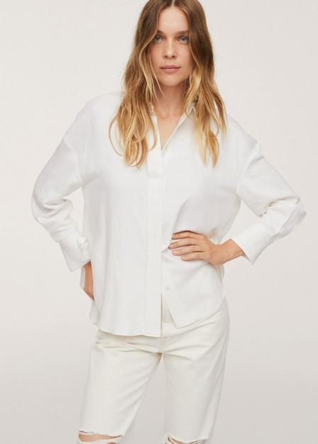 Mango - Natural White Side Slit Shirt, Women