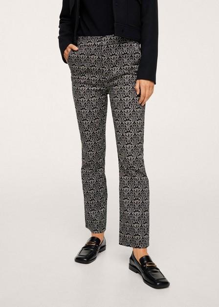 Mango - Black Printed Cotton Trousers, Women