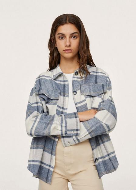 Mango - Medium Blue Oversized Check Overshirt, Kids Girl