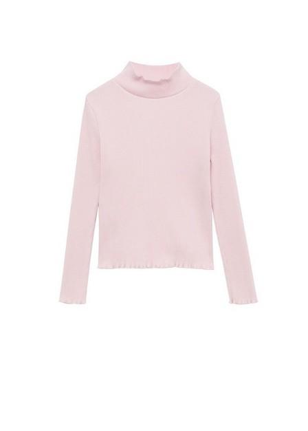 Mango - lt-pastel pink Ribbed long-sleeved t-shirt, Kids Girl