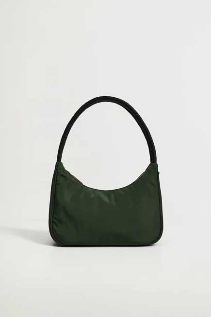 Mango - Green Twisted Strap Baguette Bag, Women