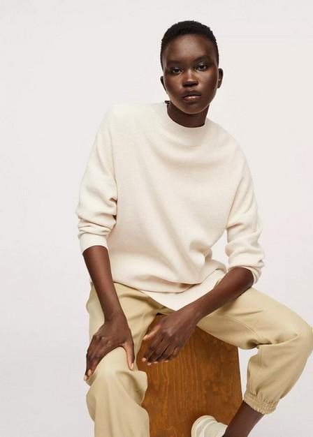 Mango - Light Beige Asymmetric Knit Sweater, Women