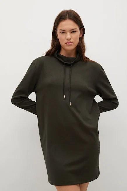 Mango - Beige - Khaki Turtle Neck Dress, Women