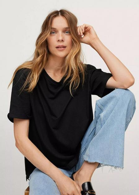 Mango - Black Oversize Cotton T-Shirt, Women