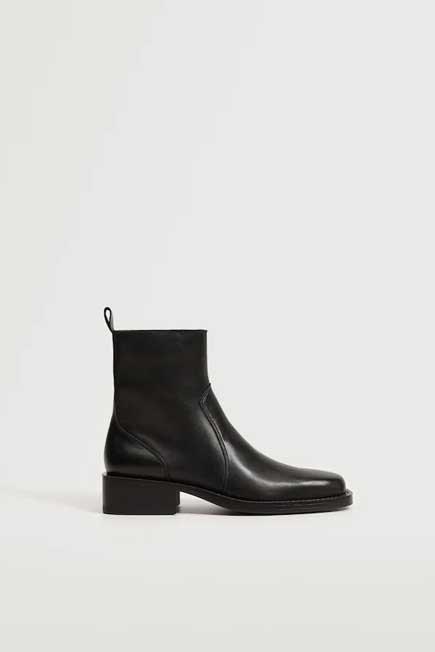 Mango - Black Zipped Leather Ankle Boots, Women