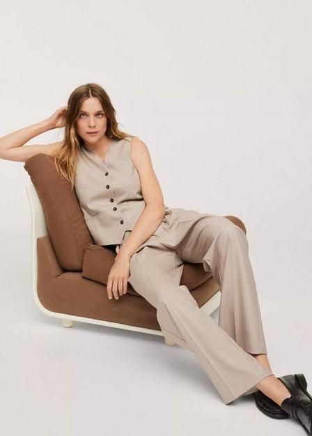 Mango - Light Beige Buttons Suit Waistcoat, Women