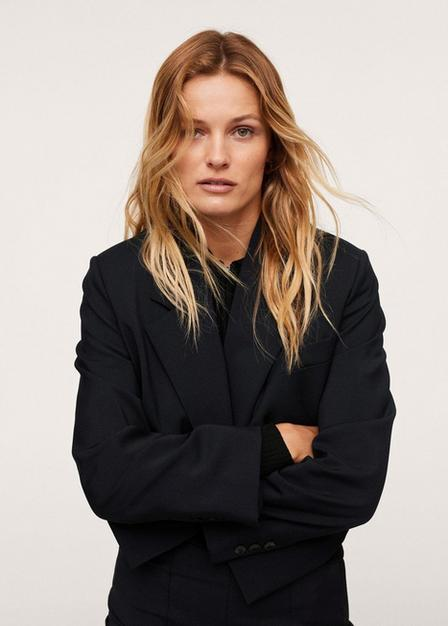 Mango - navy Cropped blazer with buttons, Women