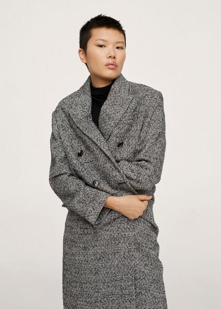 Mango - Black Buttoned Wool Coat, Women