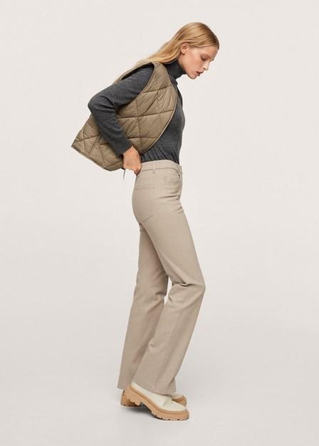 Mango - Light Beige Flared Cotton Trousers, Women