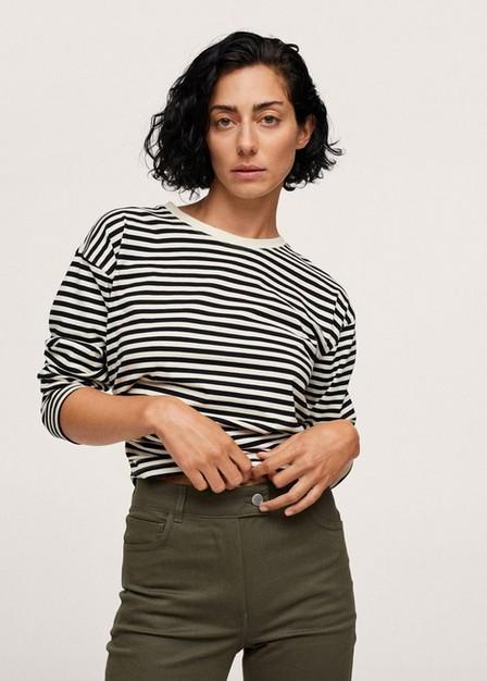 Mango - Beige - Khaki Flared Cotton Trousers, Women