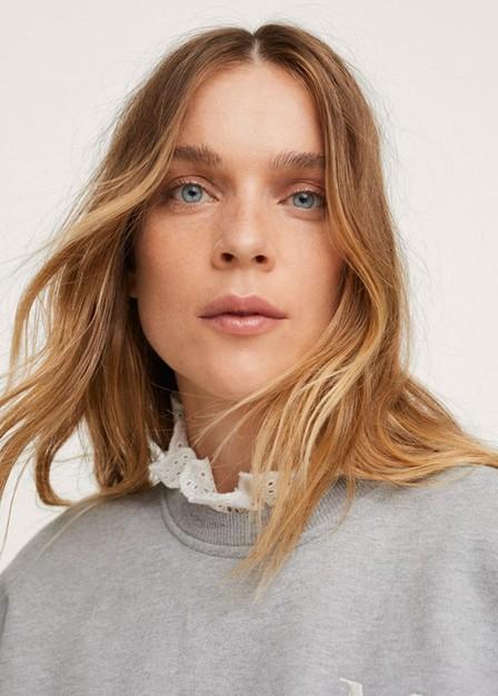Mango - Medium Grey Embroidered Cotton Sweatshirt, Women