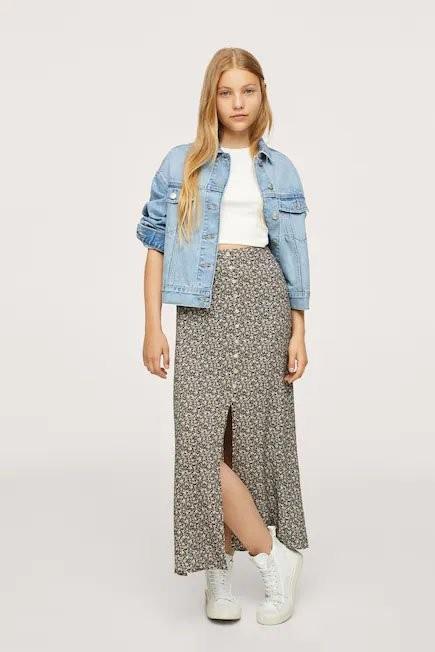 Mango - Black Floral Print Skirt, Kids Girl