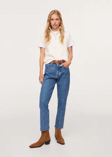 Mango - Open Blue Ankle-Length Straight-Fit Jeans, Women