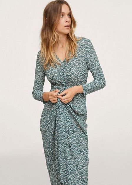 Mango - Green Printed Textured Dress, Women