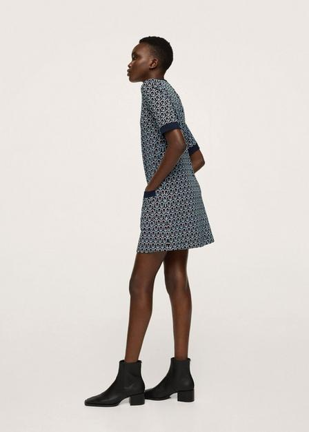 Mango - navy Printed knit dress, Women