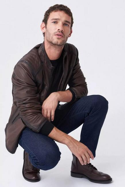 Salsa Jeans - Beige Leather biker jacket