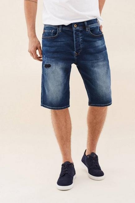 Salsa Jeans - Blue Loose Denim Shorts With Rips, Men