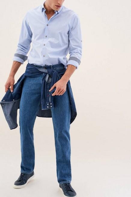 Salsa Jeans - Blue Navarro Straight Jeans Medium Rinse With Zip, Men